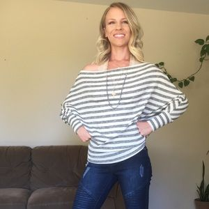 Tops - NEW Gray grey white striped long sleeve top shirt